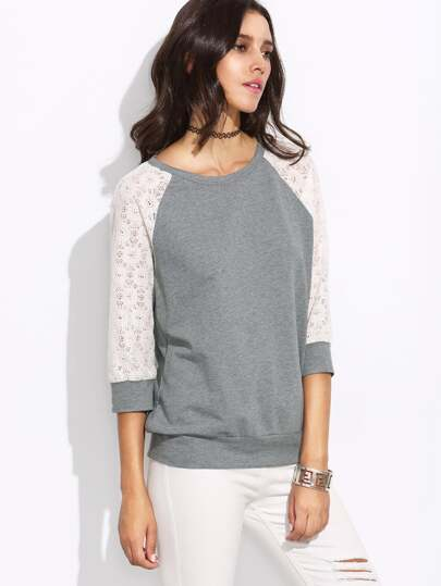 Heather Grey Contrast Lace Raglan Sleeve Cutout Sweatshirt