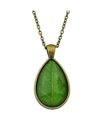 Green Simple Model Rhinestone Leaf Shape Pendant Necklace