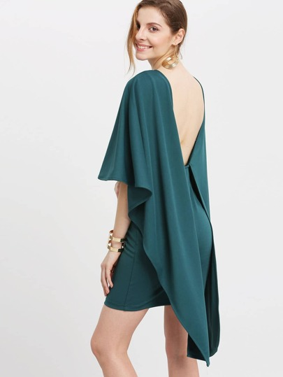 Dark Green Backless Bodycon Dress Dress