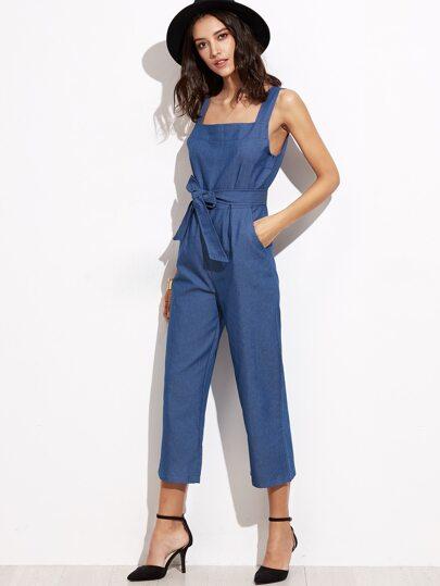 Blue Straps Self Tie Wide Leg Jumpsuits
