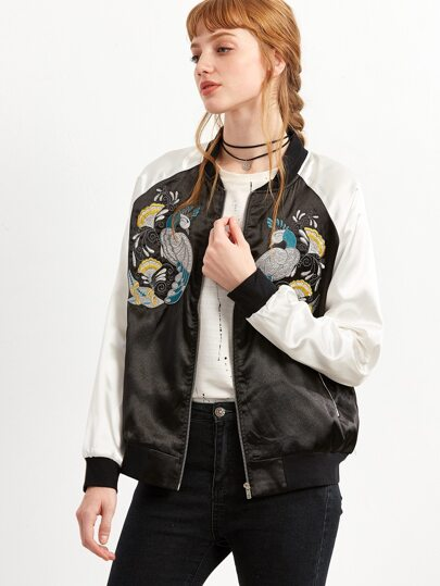 Black Peacock Embroidered Raglan Sleeve Bomber Jacket