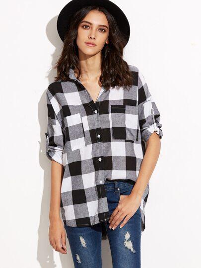Black White Plaid Dip Hem Shirt