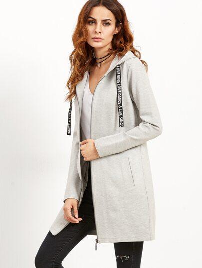 Grey Letter Print Tape Hooded Zip Up Coat