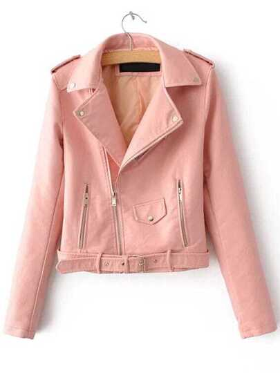 Pink Faux Leather Belted Moto Jacket With Zipper