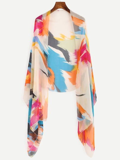 Multicolor Abstract Painting Print Scarf