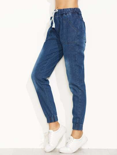 Blue Drawstring Elastic Hem Jeans
