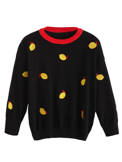 Black Contrast Neck Lemon Embroidered Sweater