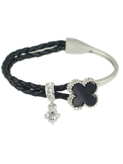 Black Rhinestone Braided Pu Leather Chain Link Bracelet