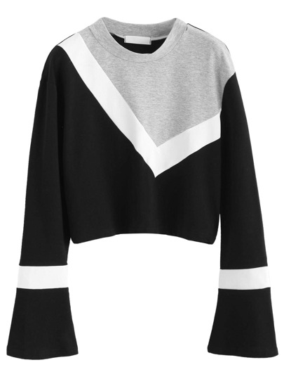 Color Block Bell Sleeve Crop Sweatshirt
