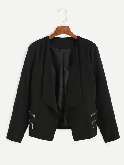 Black Shawl Collar Zipper Blazer