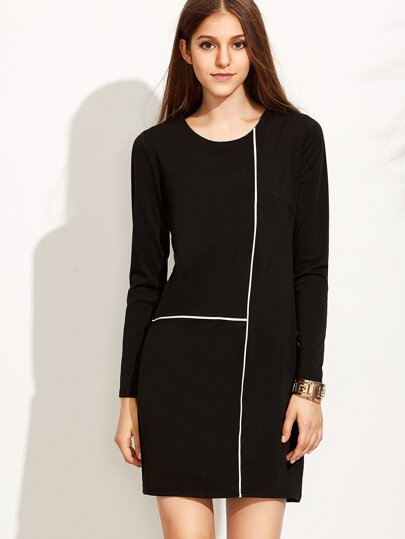 Black Contrast Trim Sheath Dress