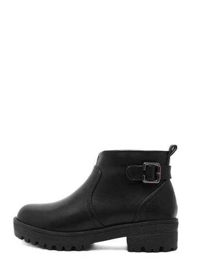 Black Faux Leather Buckle Strap Ankle Boots