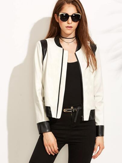 White Faux Leather Contrast Panel Bomber Jacket
