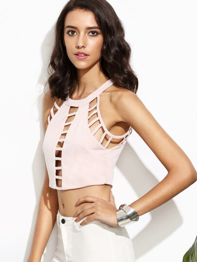 Pink Hollow Out Zipper Back Crop Top