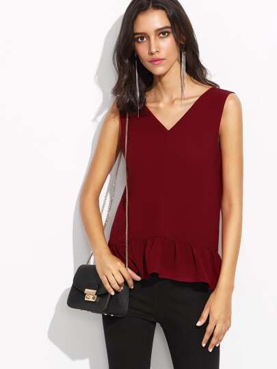 Burgundy Double V Neck Ruffle Hem Sleeveless Top