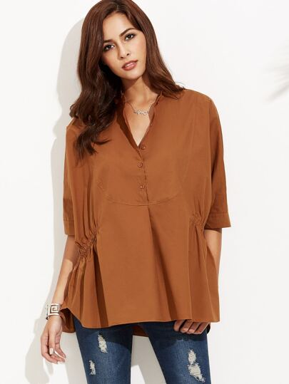 Brown Shirred Side High Low Blouse