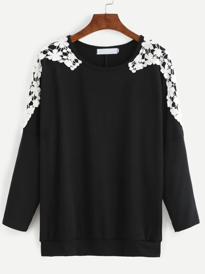Black Crochet Contrast T-shirt