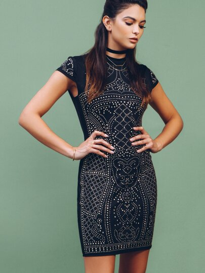 Black Studded Zipper Back Sheath Dress