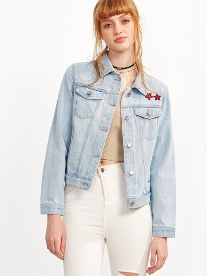 Blue Star Embroidery Single Breasted Denim Jacket