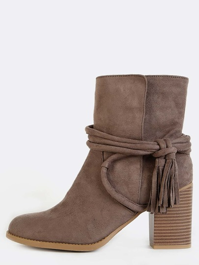 Wrap Tassel Almond Toe Boots TAUPE