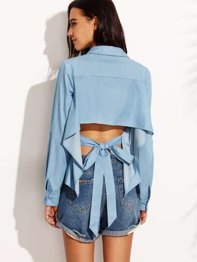 Blue Tie Cut Out Back Rolled Up Sleeve Blouse