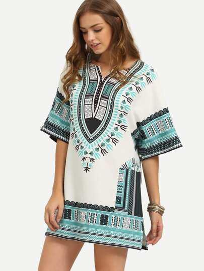 Multicolor Print Split Side Half Sleeve Shift Dress