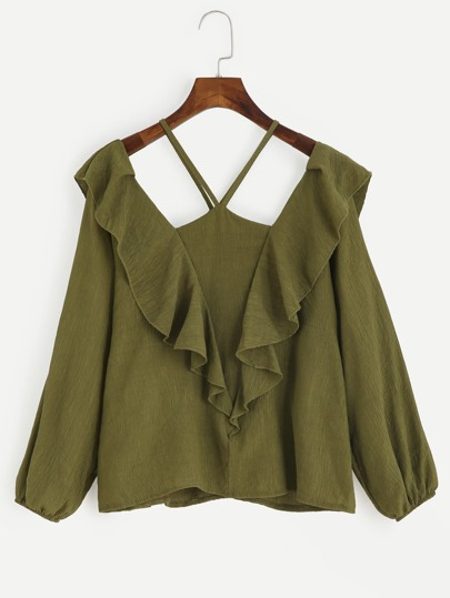 Olive Green V Halter Neck Cold Shoulder Ruffle Blouse