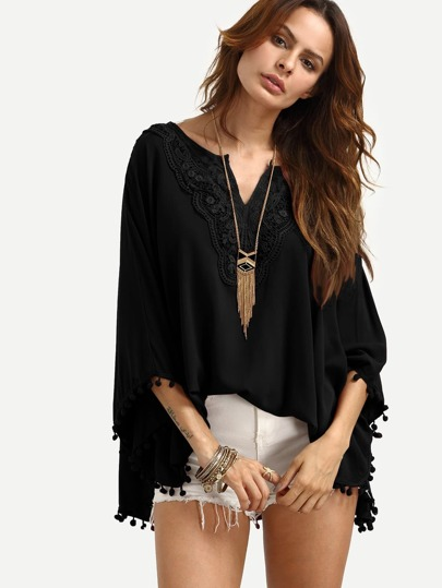 Black V Neck Lace Insert Pom Pom Trim Blouse