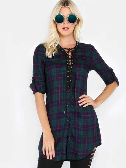 Flannel Lace Up Tunic GREEN