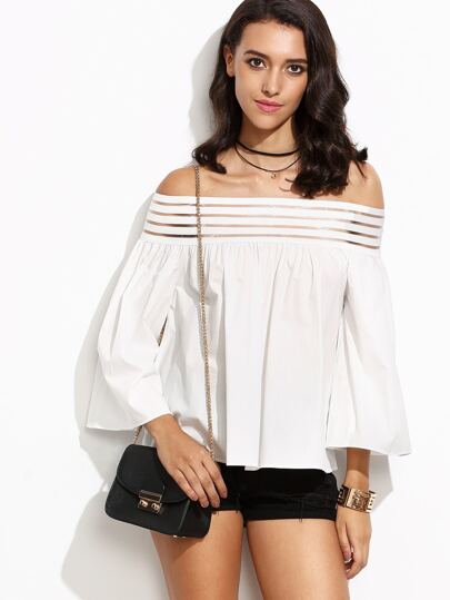 White Striped Mesh Off The Shoulder Bell Sleeve Blouse