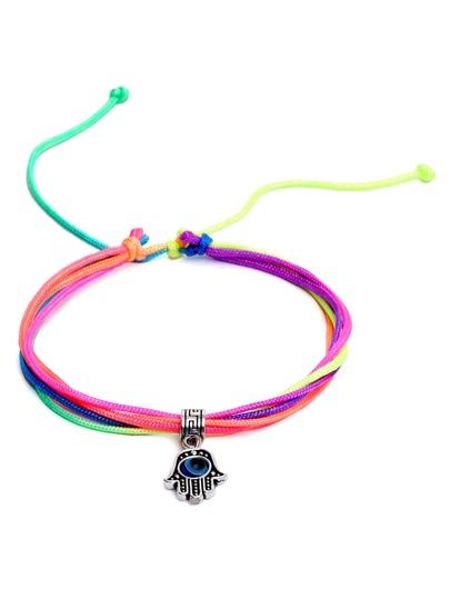 Multicolor Evil Eye Palm Charm Bracelet