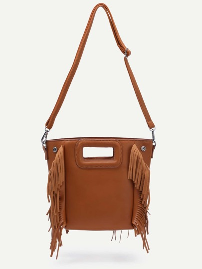 Brown Cut Out Handle Fringe Shoulder Bag
