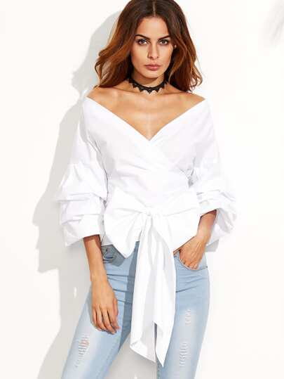 White Layered Sleeve Bow Tie Off The Shoulder Surplice Top