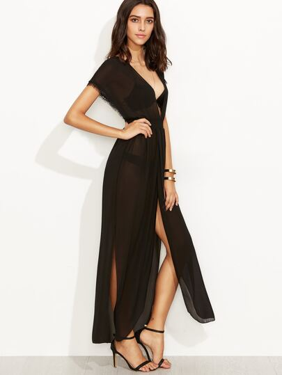 Black Deep V Neck Eyelash Tassel Backless Slit Sheer Dress