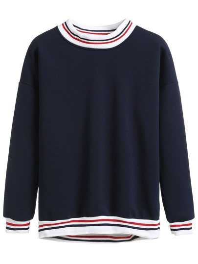 Navy Stripe Trimmed Sweatshirt