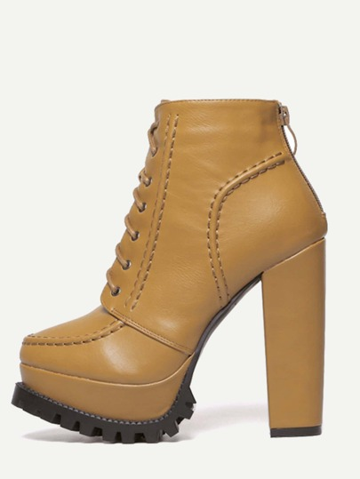 Khaki Faux Leather Lace Up Back Zipper Boots