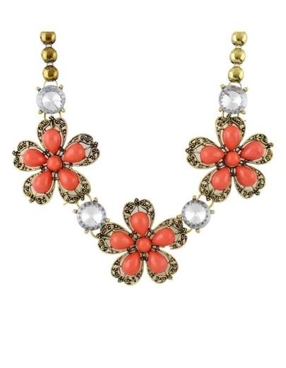 Orange Stone Flower Shourouk Necklace