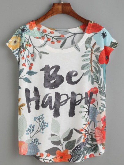 T-shirt à fleurs imprimé lettres - blanc