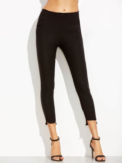 Black Elastic Waist Asymmetric Hem Leggings