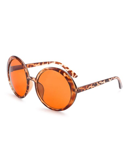 Leopard Print Frame Brown Round Lens Retro Style Sunglasses