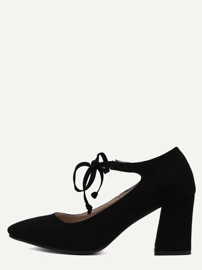 Black Faux Suede Mary Jane Lace Up Shoes