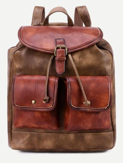 Khaki PU Drawstring Double Flap Pocket Backpack