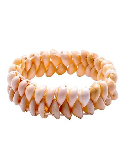 White Double Layer Cowrie Shell Bracelet