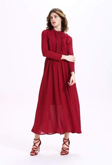 Burgundy Button Front Ruffle Chiffon Dress With Belt