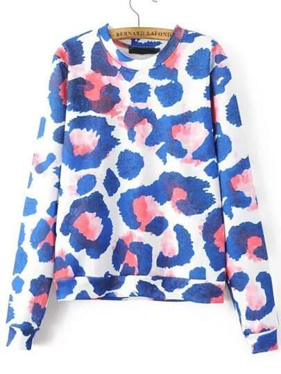 Leopard Print Ribbed Crew Neck Sweatshirt