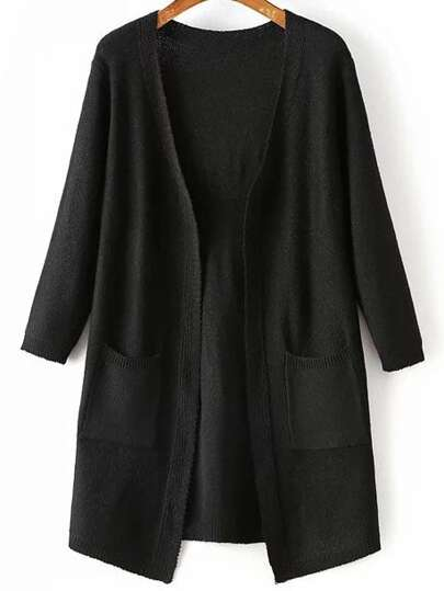 Black Portrait Print Pocket Longline Cardigan