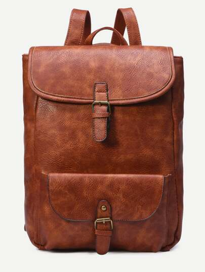 Camel Distressed Faux Leather Buckle Flap Backpack