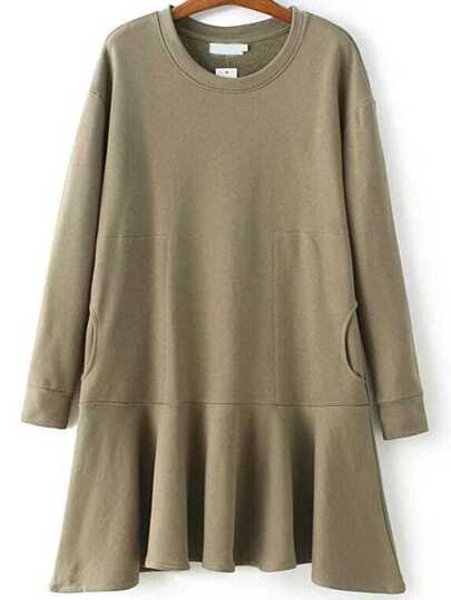Army Green Ruffle Drop Waist Sweatshirt Dress With Pockets