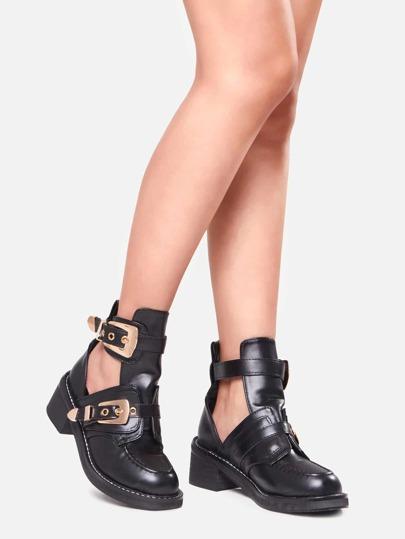 Schuhe Blockabsätzen Kunstleder - schwarz
