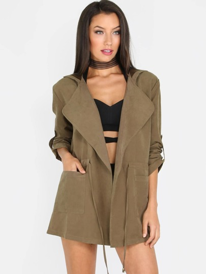Hooded Quarter Sleeve Jacket OLIVE